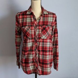 LA Hearts Red Plaid Button Up Tunic Size Small